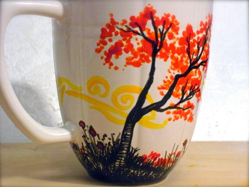 Hand painted mug a warm place for How to paint a mug