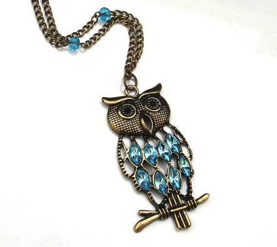 Aquamarine Crystal Owl Necklace