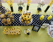 Polka Dots Table Runner, Ready to ship, Bumble Bee, Baby Shower, Baby Revealing Party, Polka dots party, Black and white, Mickey Mouse