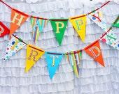 Rainbow Birthday Banner - circus party, carnival party, big top, birthday party banner