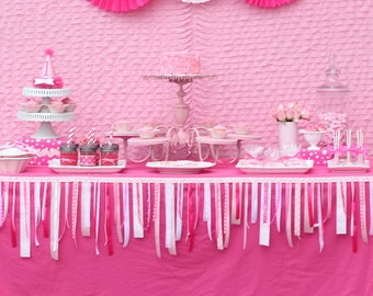 Pink Party Decorations, Pink Ribbon Garland - Pink Baby Shower, Pink Zebra Party, Sweet Shoppe, Ribbon, Pink Ribbon