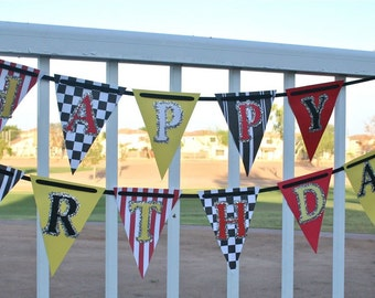 Cars Party Banner - race car banner, birthday banner, checkered flag, monster truck, firetruck party, ready to ship