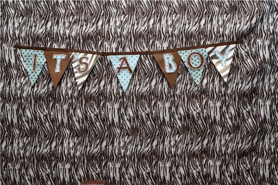 It's A Boy Banner, Ready to ship, Jungle baby shower, Brown Zebra, Safari, Zoo Party, It's a Girl, 1st Birthday