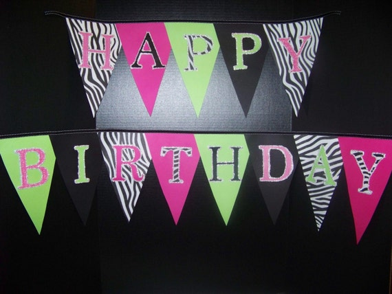 Zebra Party Banner, Ready to ship, Diva Party, Spa Party, Rockstar, Sweet 16, Quinceanera, A to Zebra Celebrations