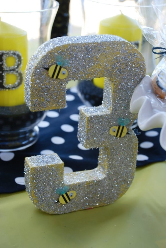 Glittery Number Or Letter Bumble Bee Rainbow Centerpiece Party