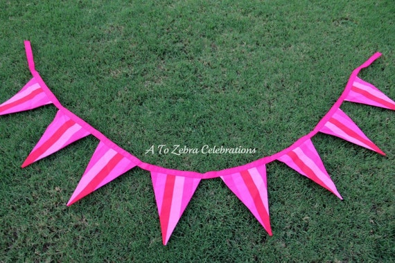 Pink Fabric Bunting Ready To Ship & FREE shipping