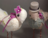 Made to Order. Custom Color Needle Felted Love Birds.