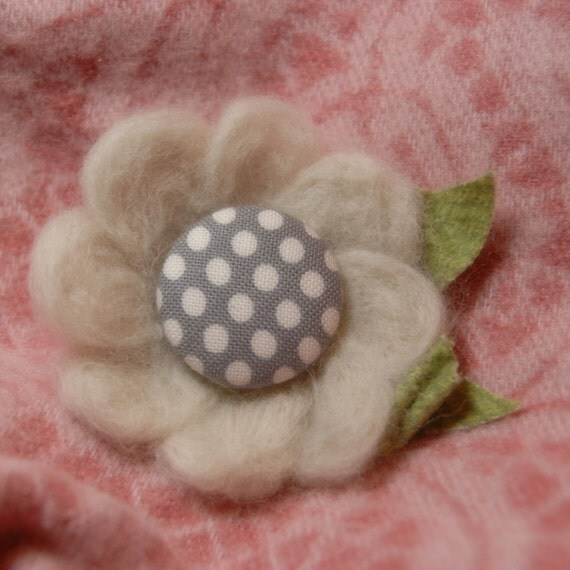 Needle Felted Flower Brooch with Four Interchangeable Centers. You Choose Your Colors.