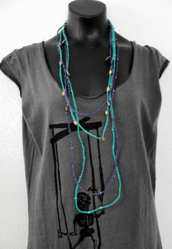 Wrapped knotted Beaded layered - long summer necklace