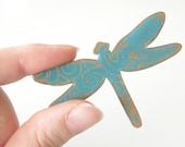 Turquoise Dragonfly Brooch - Wooden Brooch