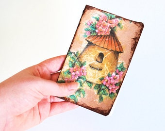 Unique Pocket Journal with bird house paper decoupage
