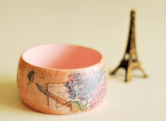 Decoupage Pink Bangle - Romantic Wooden bangle with flowered paper decoupage - OOAK