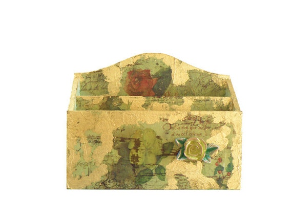 Decoupage Mail Box - OOAK Wooden Mail Box with flowered paper decoupage, gold foil and a 3D resin rose