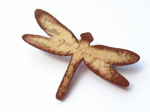 Wooden dragonfly brooch - OOAK Decoupaged dragonfly with words
