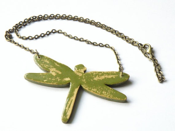 Wooden Dragonfly Necklace - RETRO DRAGONFLY