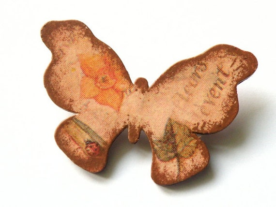 Wooden Butterfly Brooch - SECRET GARDEN BUTTERFLY