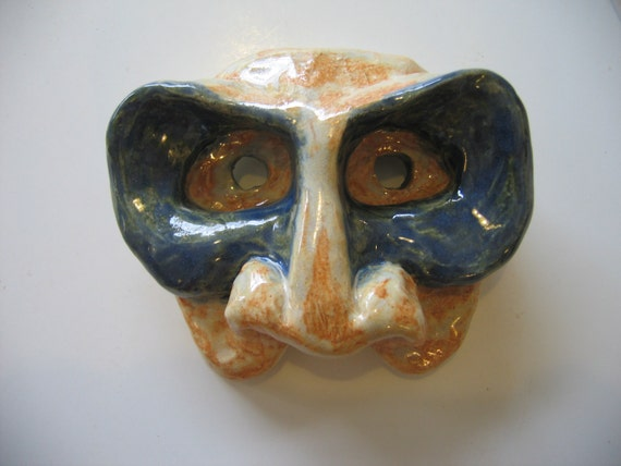 "Blue and Caramel ""Mask-In-A-Mask"" Wall Mask"