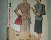 Uncut Vintage 1950s Women's Suit Pattern - Simplicity 4915 - 36 Bust