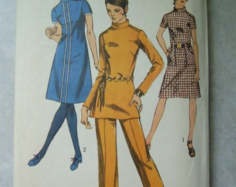 Vintage 1970's Women's Dress or Tunic and Pants Pattern - Simplicity 9063 - 34 Bust