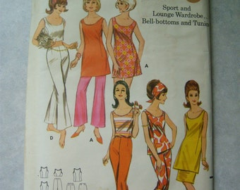 Uncut Vintage 1960s Women's Pants, Tunic, Skirt, Top, and Bell-bottom Pants - Butterick 3586 - 38 Bust
