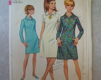 Vintage 1960s Dress Pattern - Simplicity 7289 - 30 Bust
