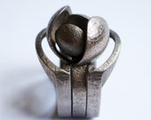 Bud with Guards - set of 3d printed rings in stainless steel
