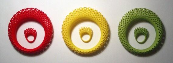 Polyoptic ring and bangle set - 3D printed