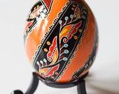 Genuine Hand Made Ukrainian Easter Egg - Brilliant Orange (with black stand included)