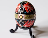 Ukrainian Easter Egg - Red Oak Leaves (with clear egg stand included)