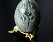 Ukrainian Easter Egg - Grey and White Triangles (with simple egg stand included)