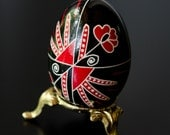 Ukrainian Easter Egg - Modern Poppy (with simple egg stand included)