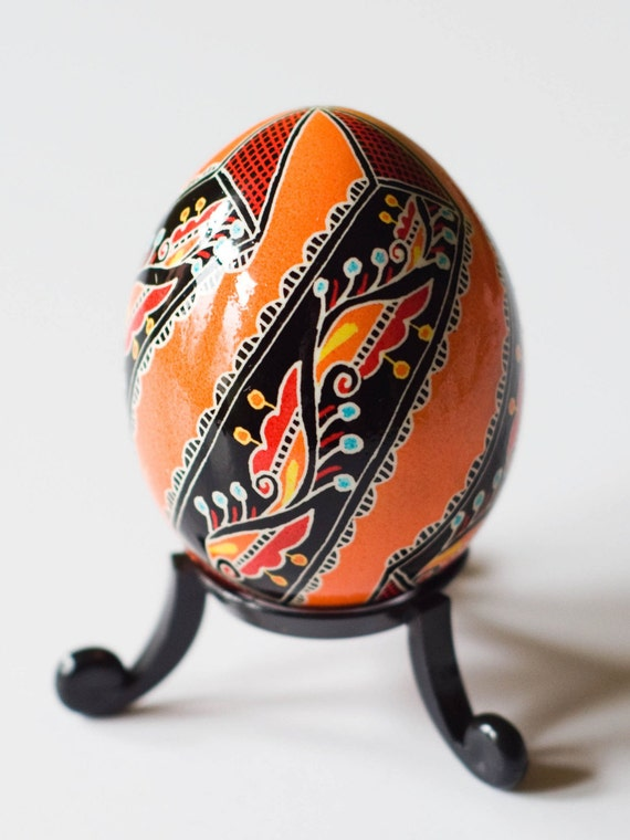 Genuine Hand Made Ukrainian Easter Egg - Brilliant Orange (with black stand included)