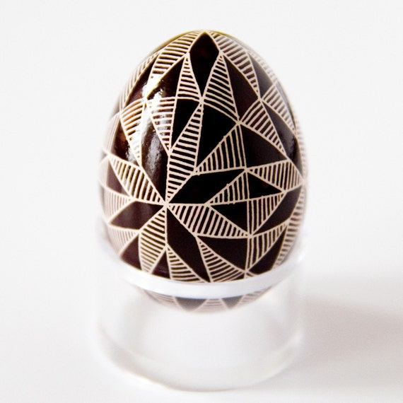 Ukrainian Easter Egg - Brown and White Triangles (with clear egg stand included)