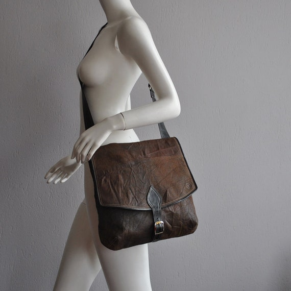 MTS Brown messenger bag with  black details, RECLYCLED LEATHER