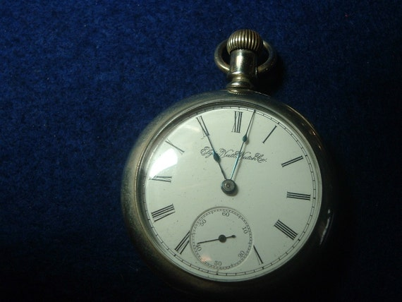 1894 ELGIN 18 SIZE 7 JEWELS GILDED MOVEMENT POCKET WATCH JUST SERVICED
