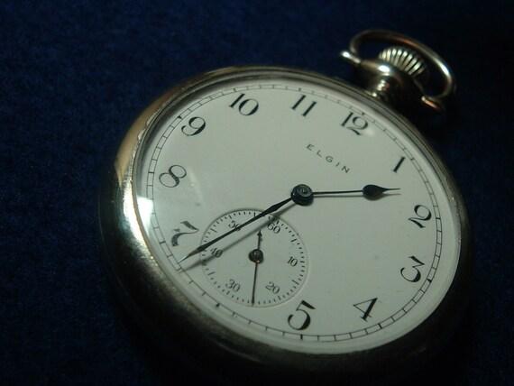 Antique Elgin 1909 Pocket Watch Gilded Movement