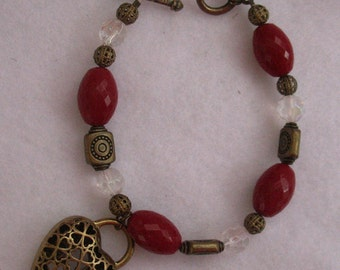 Celtic Gold Red Crystal Heart Charm Bracelet Jewelry Handmade NEW Fashion