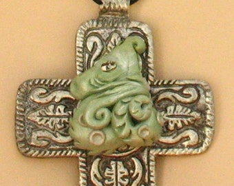 Green Dragon on a Celtic Cross Pendant Necklace Jewelry Handmade Polymer Clay