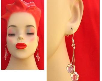 Pink & Purple Flower Dangle Earrings NEW Handmade Jewelry Women Accessories Gift Silver