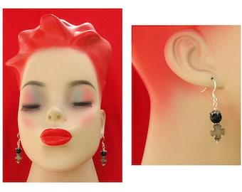 Silver Black Cross Earrings NEW Handmade Jewelry Women's Accessories Gift