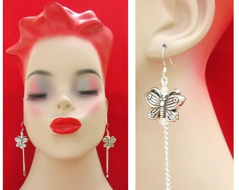 Silver Butterfly Chain Earrings NEW Handmade Jewelry Women Accessories Gift