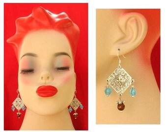Blue and Brown Crystal Ornate Chandelier Earrings Handmade Jewelry Accessories Women