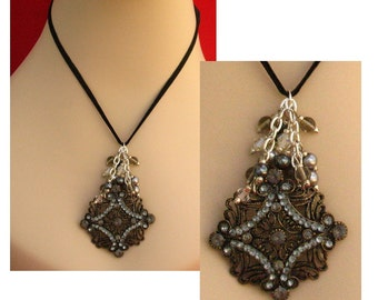 Gothic Crystal Pendant Necklace with beads Jewelry Accessories Handmade NEW