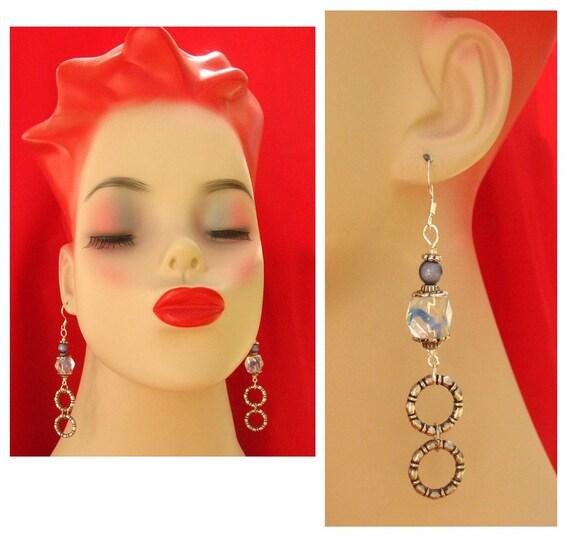 Celtic Blue Wreath Dangle Earrings Jewelry Handmade Women's Fashion Accessories