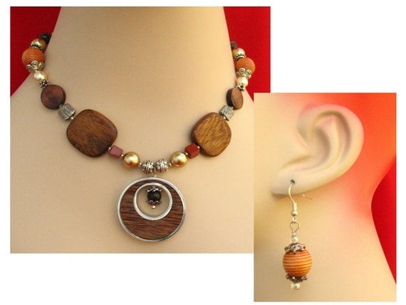 One-of-a-Kind Woodland Beaded Necklace Jewelry Handmade Women's Fashion Accessories
