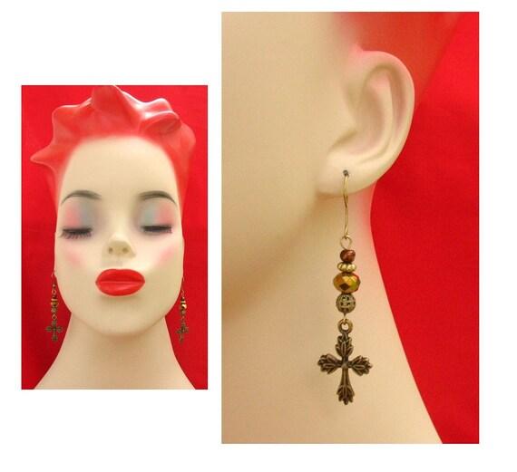 Burnished Gold Celtic Cross Earrings Handmade Jewelry New Accessories Women