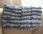 Grey/Gray blue Warm wool chunky knit Collar