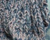 Vegan SCARF- 2m50 - 8ft long Knitted Cotton Tweedy mix yarn-More Blue Denim to CUSTOM ORDER