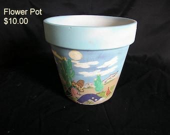 Decorated Clay Flower Pot - Siesta