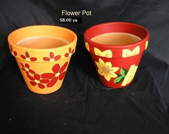 Decorated Flower Pot - six inch - Red and Orange
